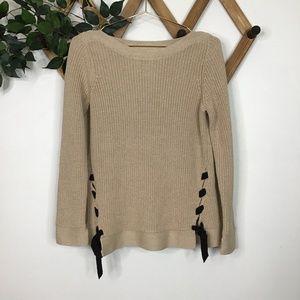 Loft Lace Up Tie Hem Cable Knit Crew Sweater